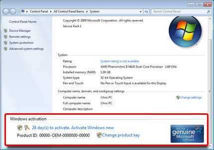 Change product key in Windows 7